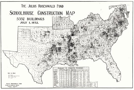 Rosenwald school locatrion map