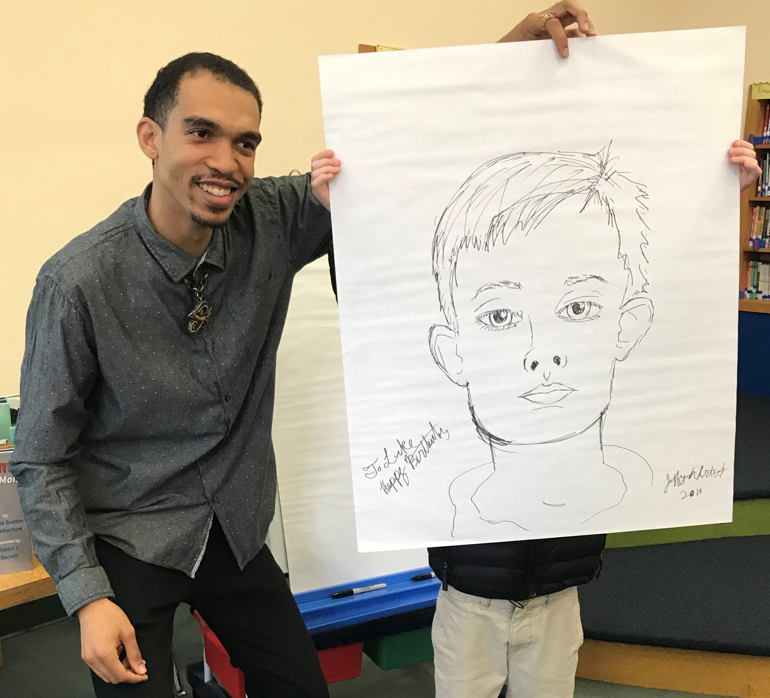 Jeff and model w caricature